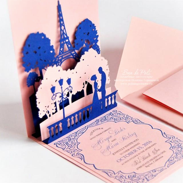 Pop Up Invitation Card Luxury Pop Up Wedding Invitations Lovers Paris Eiffel tower