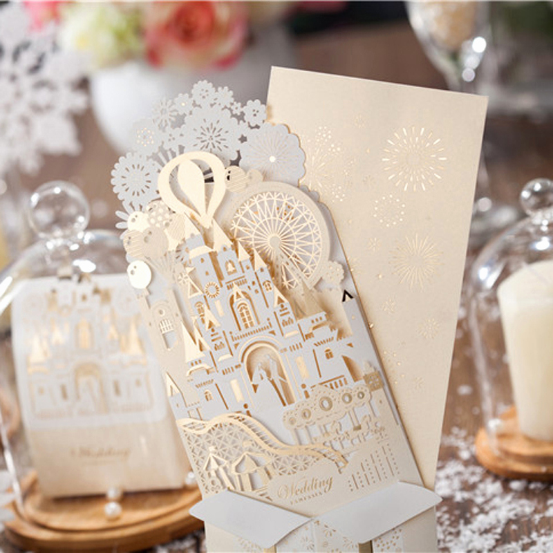 Pop Up Invitation Card New 10 Pieces Lot Wishmade Wedding Decoration 3d Castle