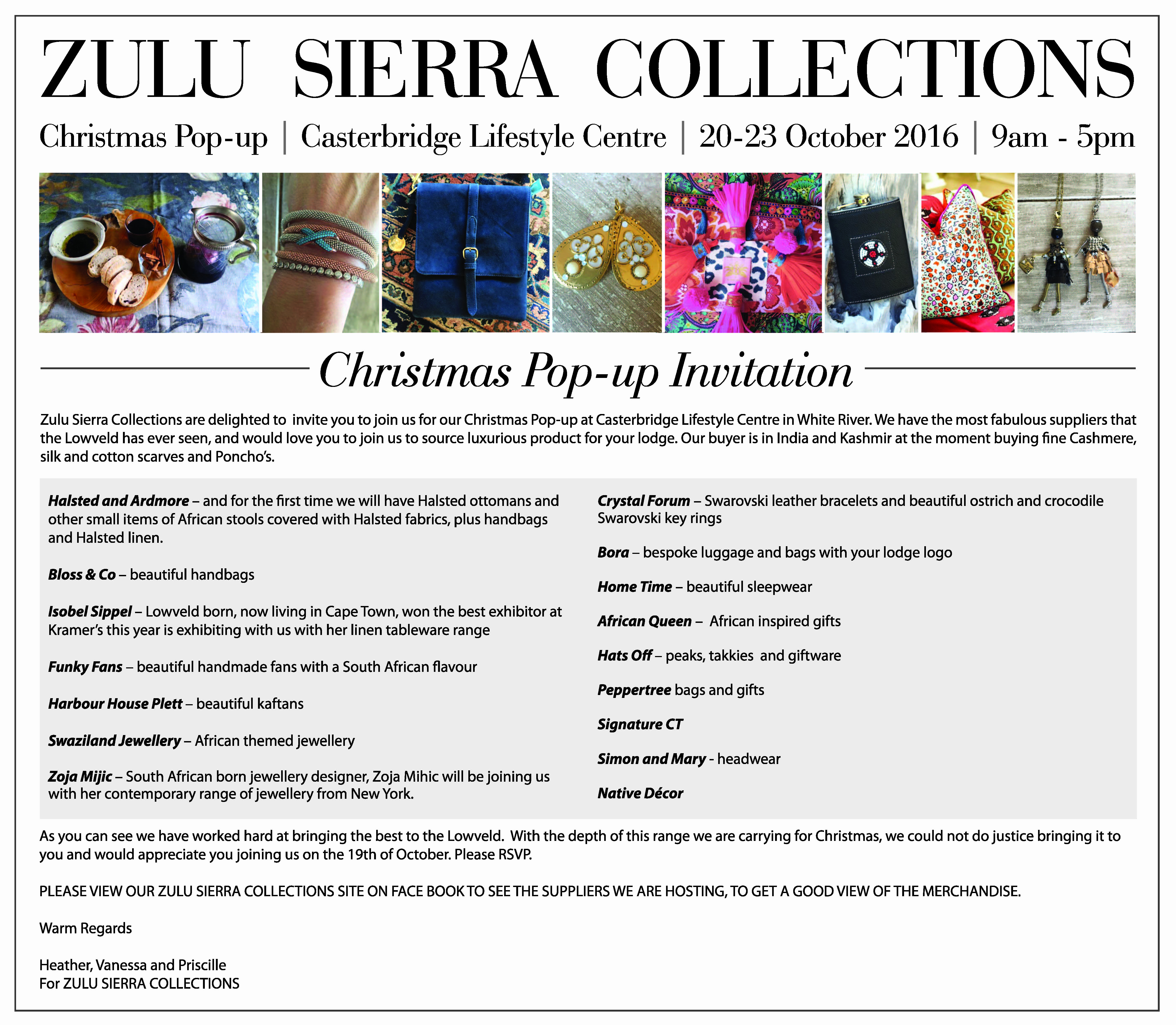 Pop Up Shop Invitation Fresh Zulu Sierra Collection at Casterbridge Lifestyle Centre