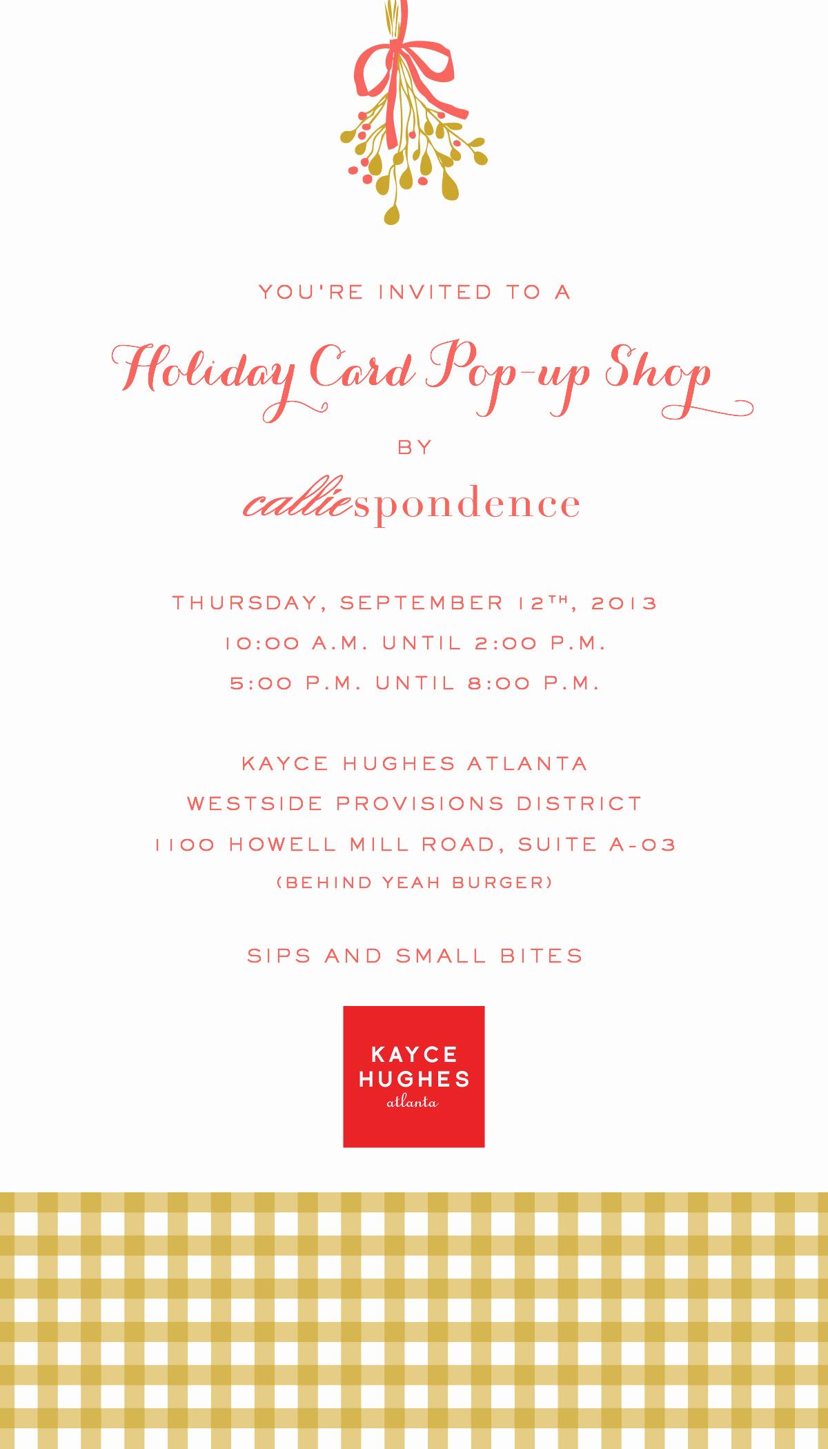Pop Up Shop Invitation New Holiday Card Pop Up Shop – Thursday September 12th