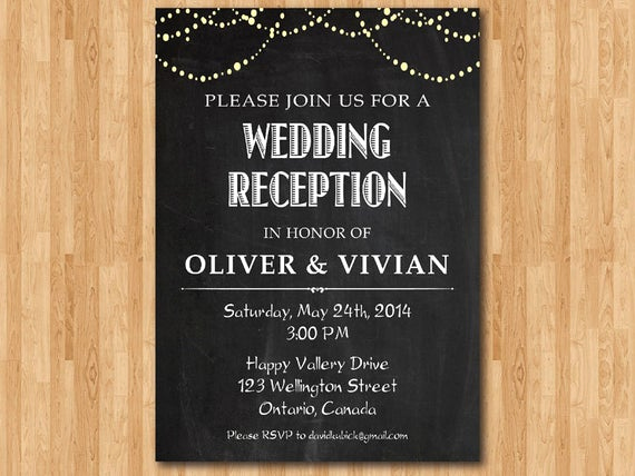 Post Wedding Reception Invitation Wording Best Of Wedding Reception Invitation Reception Invite Chalkboard