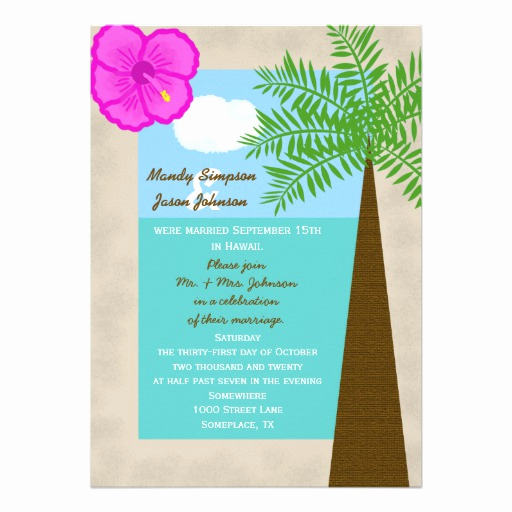 "Post Wedding Reception Invitation Wording Elegant Post Wedding Reception Invitation Tropical 5"" X 7"