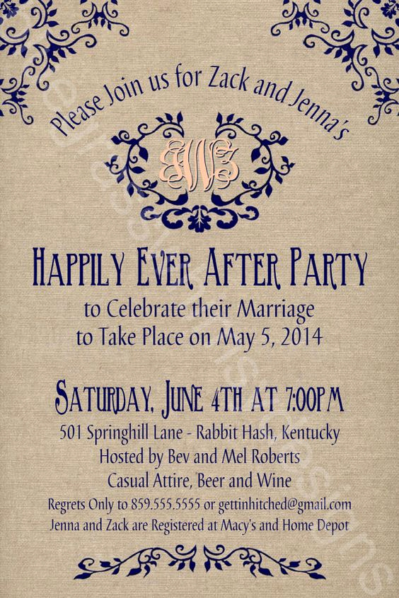 Post Wedding Reception Invitation Wording Inspirational Rustic Burlap Linen Post Wedding or Elopement