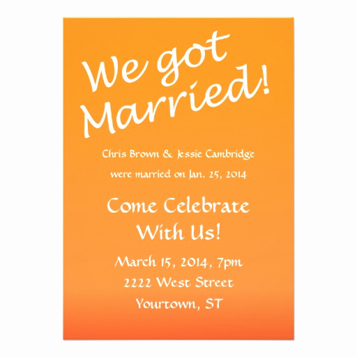 "Post Wedding Reception Invitation Wording Inspirational We Got Married Post Wedding Party Invitation 5"" X 7"