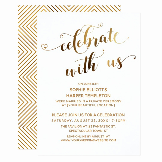 Post Wedding Reception Invitation Wording Luxury Gold Celebrate with Us Post Wedding Celebration Invitation