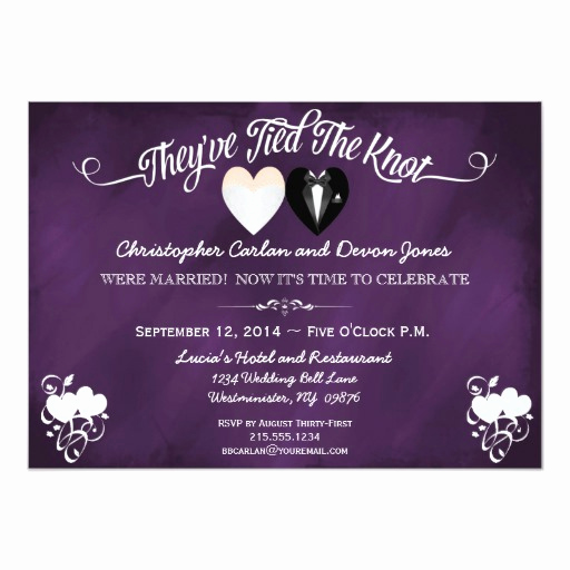 post wedding trendy purple chalkboard invitation