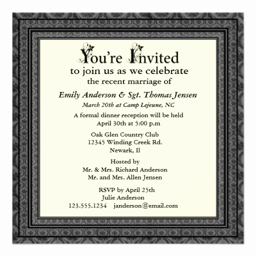 "Post Wedding Reception Invitation Wording Unique Post Wedding Reception Invitation 5 25"" Square Invitation"