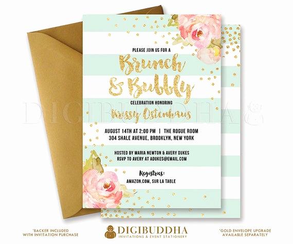 Post Wedding Shower Invitation Wording Beautiful Brunch & Bubbly Invitation Bridal Shower Invite Pink Peonies