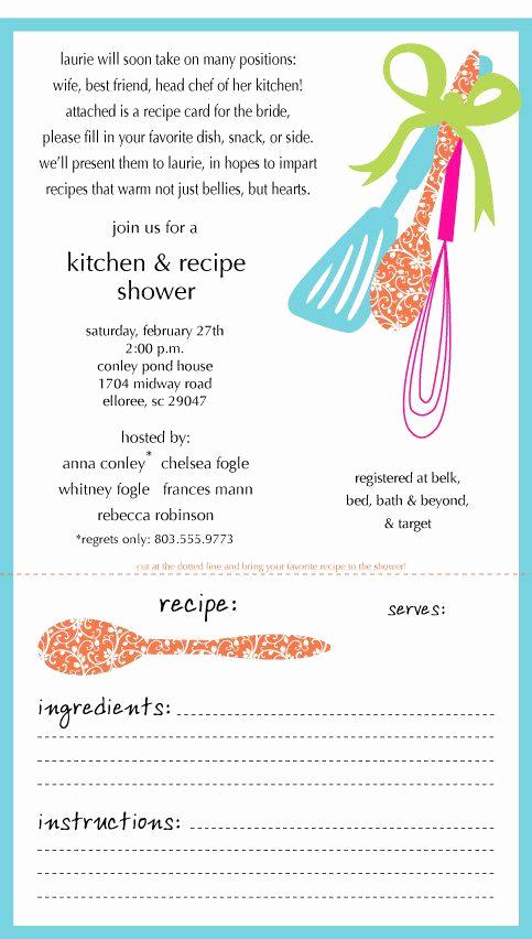 Post Wedding Shower Invitation Wording Lovely Kitchen Shower Invitation Recipe Card Engaged Wedding Love