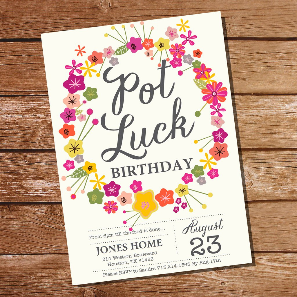 Potluck Baby Shower Invitation Awesome Pot Luck Party Invitation