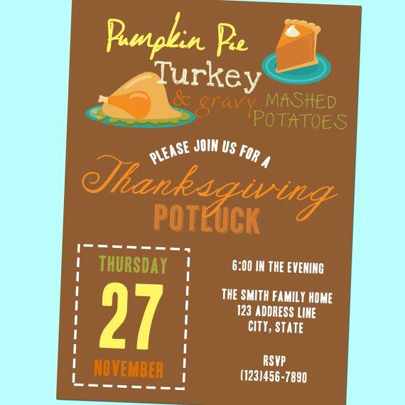 Potluck Baby Shower Invitation Beautiful Thanksgiving Potluck Invitation Printable 5x7 by