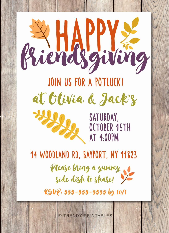Potluck Baby Shower Invitation Best Of Potluck Invitation Friendsgiving Thanksgiving Invitation