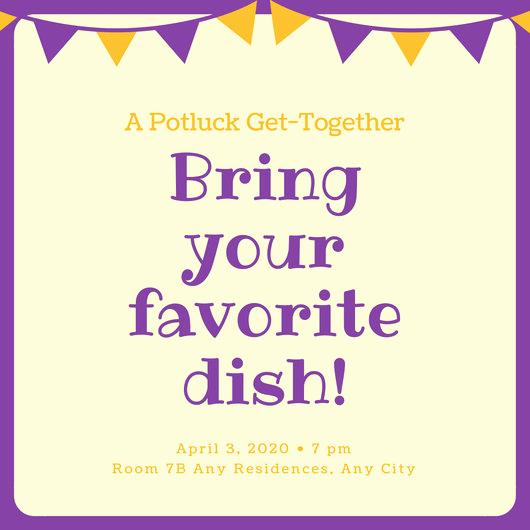 Potluck Baby Shower Invitation Fresh Violet and orange Banner Potluck Invitation Templates by