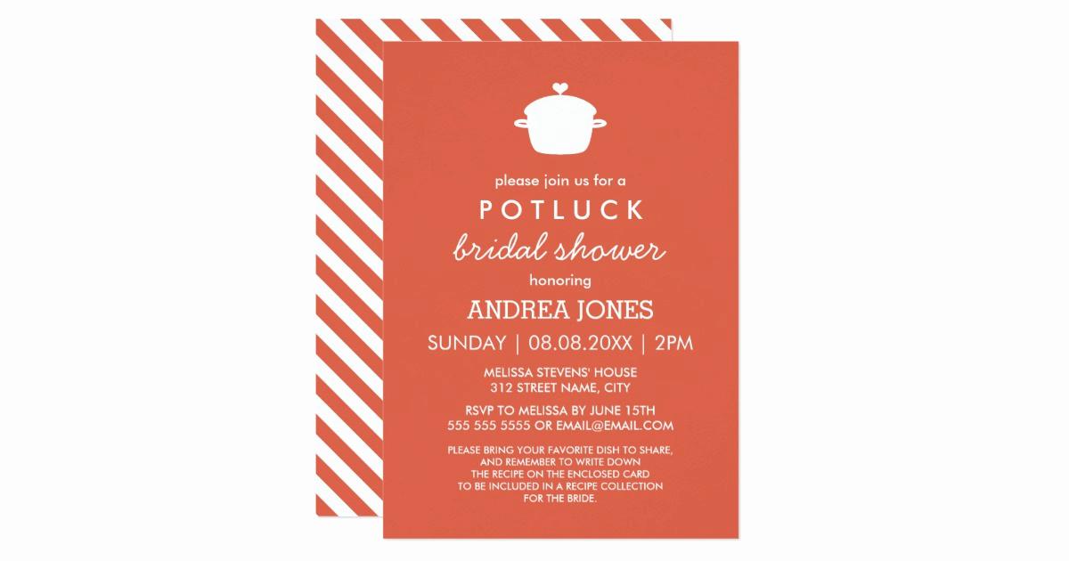 Potluck Baby Shower Invitation Inspirational Cute Potluck Bridal Shower orange White Card