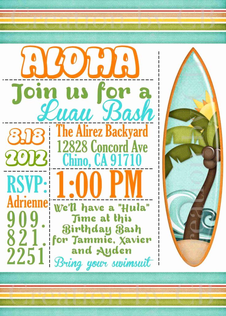 Potluck Baby Shower Invitation Lovely Luau Bash Invitation Birthday Invitation Potluck Party