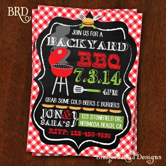Potluck Bbq Invitation Wording Awesome Bbq Invitation Backyard Bbq Barbecue Party by