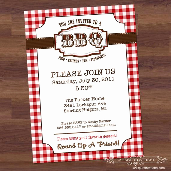 Potluck Bbq Invitation Wording Lovely Items Similar to Bbq Party Western Barbecue Barbeque