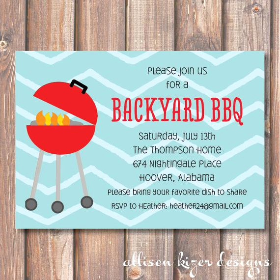 Potluck Bbq Invitation Wording New Backyard Bbq Printable Invitation Summer Cookout Invitation