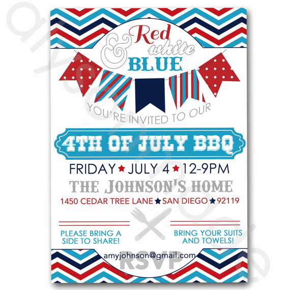 Potluck Bbq Invitation Wording New July 4th Bbq Potluck Invitation Customized and Personalized