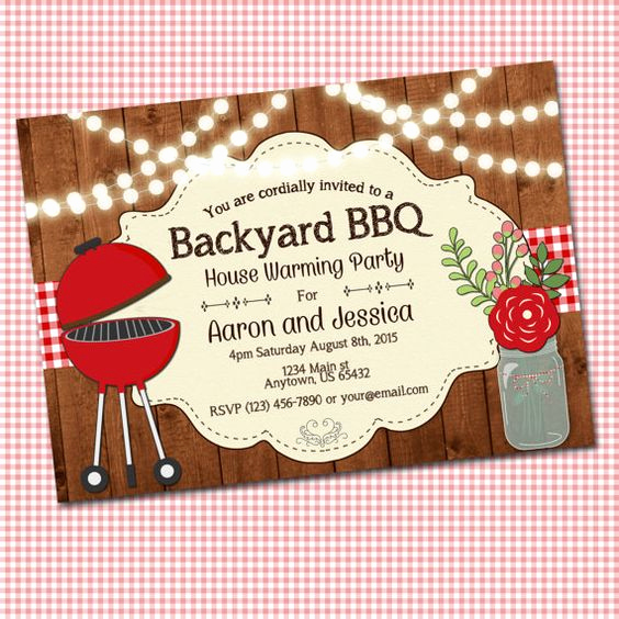 Potluck Bbq Invitation Wording Unique House Warming Party Invitation Backyard Bbq Family