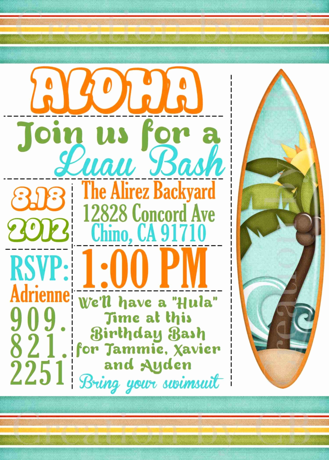 Potluck Bbq Invitation Wording Unique Luau Bash Invitation Birthday Invitation Potluck by