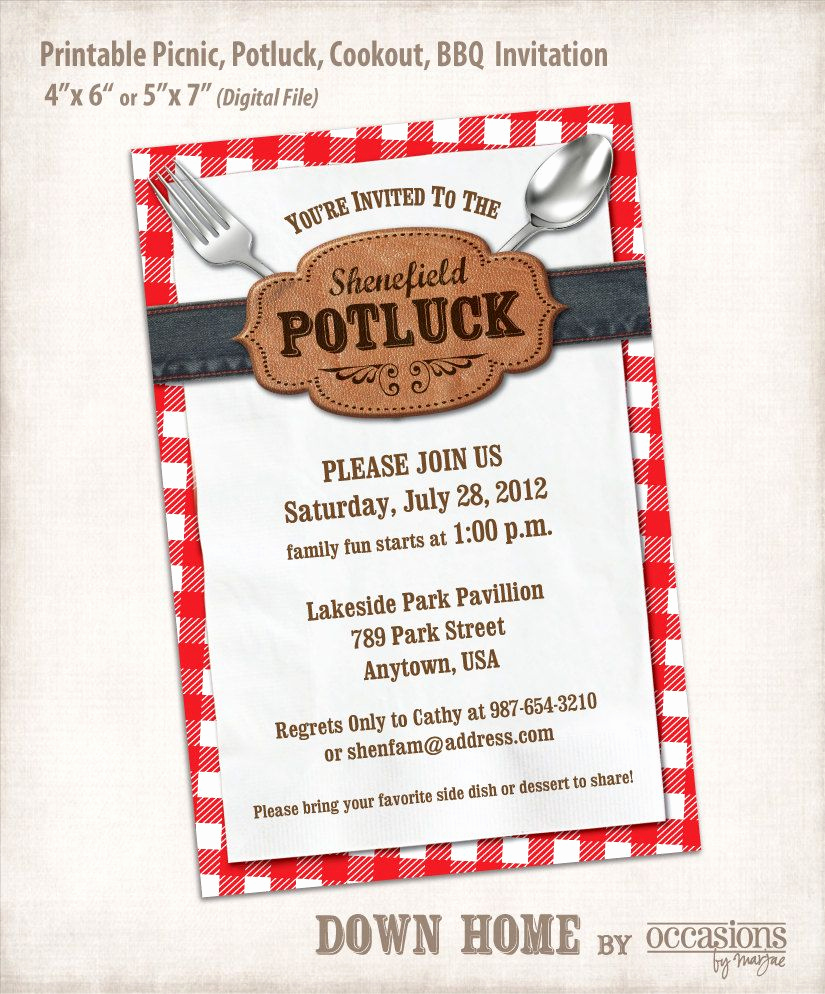 Potluck Bbq Invitation Wording Unique Printable Picnic Potluck Cookout Bbq Invitation