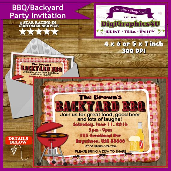 Potluck Bbq Invitation Wording Unique Summertime Backyard Potluck Bbq Party Invitation