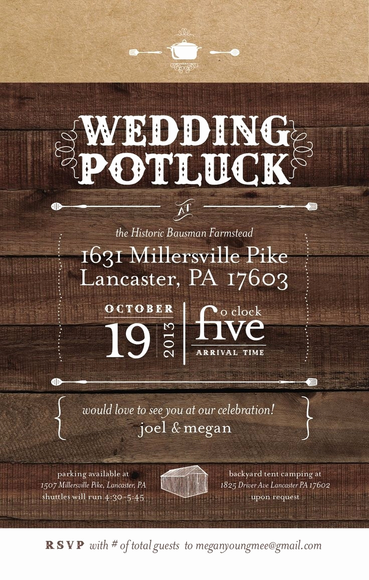 Potluck Bridal Shower Invitation Wording Fresh Potluck Wedding Reception Invitation Cobypic