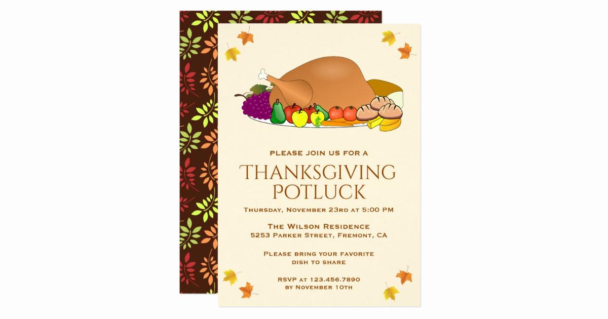 Potluck Bridal Shower Invitation Wording Lovely Turkey Feast Thanksgiving Potluck Invitation