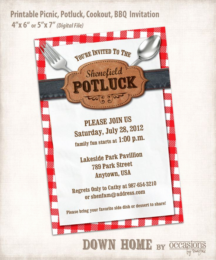 Potluck Bridal Shower Invitation Wording New Printable Picnic Potluck Cookout Bbq Invitation