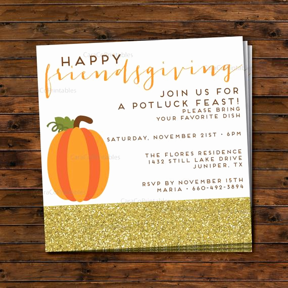 Potluck Dinner Invitation Wording Awesome Friendsgiving Thanksgiving Potluck Dinner Party Invitation