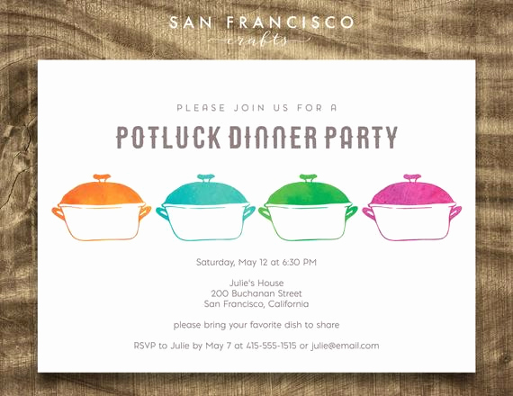 Potluck Dinner Invitation Wording Elegant Potluck Invitation Watercolor Pots Potluck Dinner Party