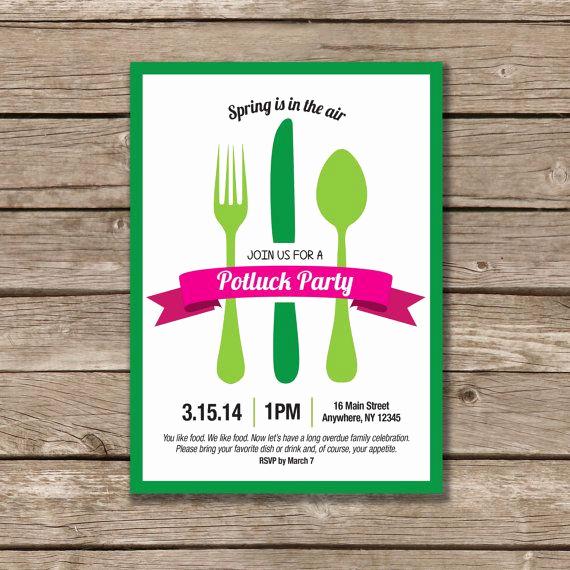 Potluck Dinner Invitation Wording Inspirational Potluck Party Potluck Invitation Printable Made to