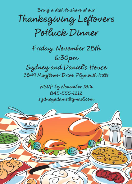 Potluck Invitation Email Sample Best Of Thanksgiving Potluck Invitation
