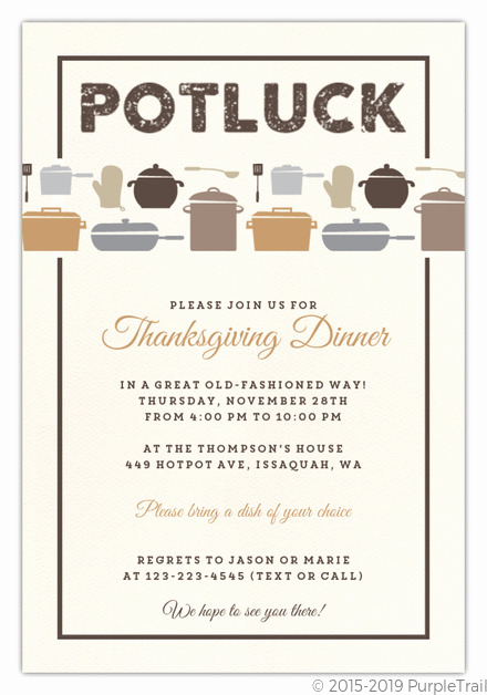 Potluck Invitation Email Sample New Rustic Neutral Potluck Thanksgiving Invitation