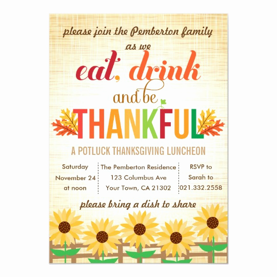 Potluck Invitation Template Free Beautiful Thanksgiving Lunch Potluck Eat Drink Give Thanks