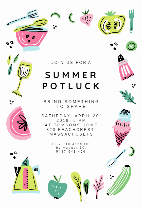 Potluck Invitation Template Free Best Of Summer Potluck Pool Party Invitation Template Free