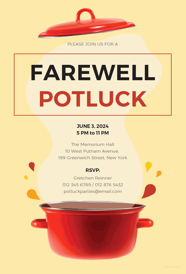 Potluck Invitation Template Free Luxury Farewell Party Invitation Template 29 Free Psd format
