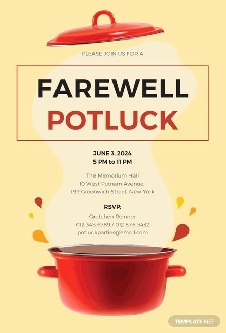 Potluck Invitation Template Free Printable Elegant Free Farewell Potluck Invitation Template