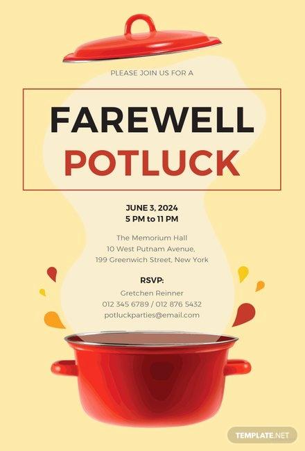 Potluck Invitation Template Free Printable Elegant Free Farewell Potluck Invitation Template