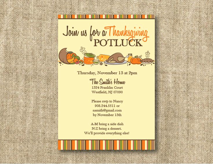 Potluck Invitation Template Free Printable Elegant Thanksgiving Invitations Wording with Bring A Dish