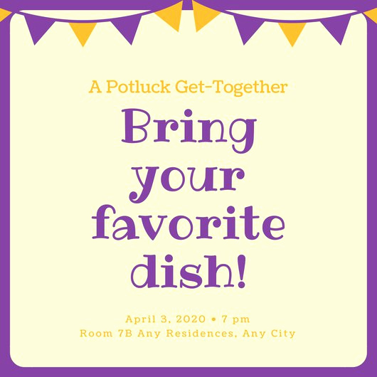 Potluck Invitation Template Free Printable Inspirational Violet and orange Banner Potluck Invitation Templates by