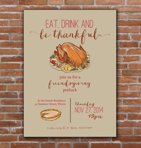 Potluck Invitation Template Free Printable Lovely Thanksgiving Friendsgiving Invitation Custom Printable