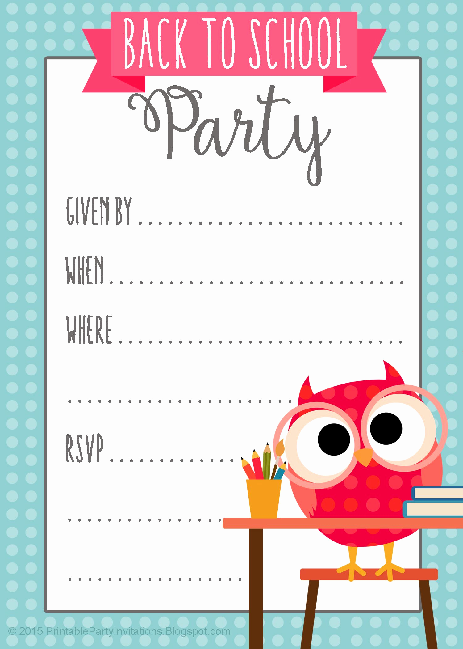 Potluck Invitation Template Free Printable New Free Printable Back to School Party Invitation