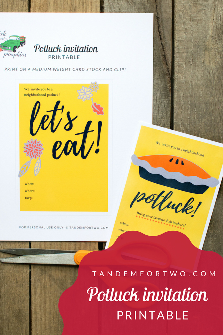 Potluck Invitation Template Free Printable New Freebie Potluck Invitation Printable – Tandem for Two