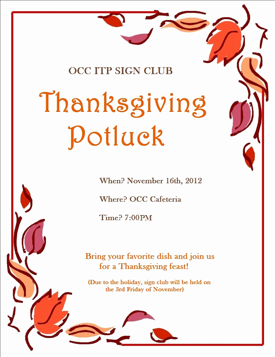 Potluck Invitation Template Free Printable Unique Potluck Flyer Template Free Printable