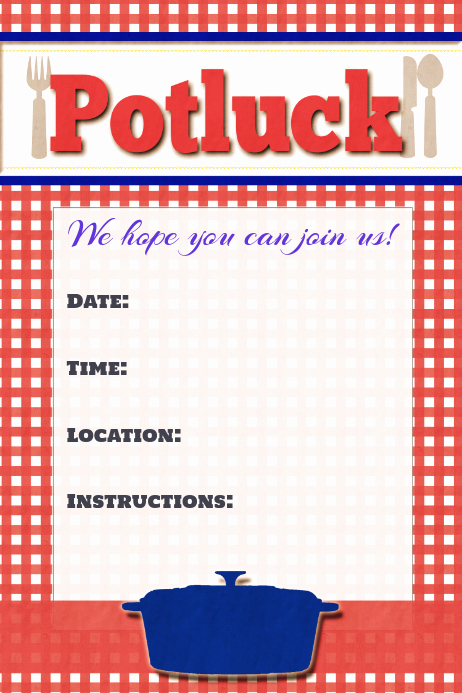 potluck potluck invitation announcement sign poster template