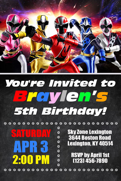 Power Ranger Invitation Templates Awesome Power Rangers Invitations General Prints
