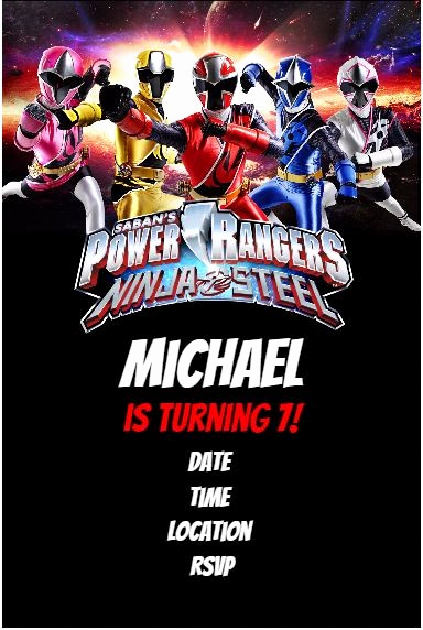 Power Ranger Invitation Templates Awesome Power Rangers Ninja Steel Party Invitation Personalized
