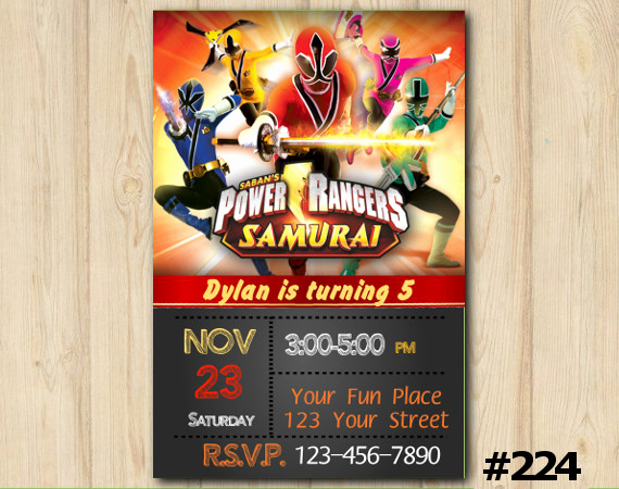 Power Ranger Invitation Templates Awesome Power Rangers Samurai Birthday Invitation Power Rangers